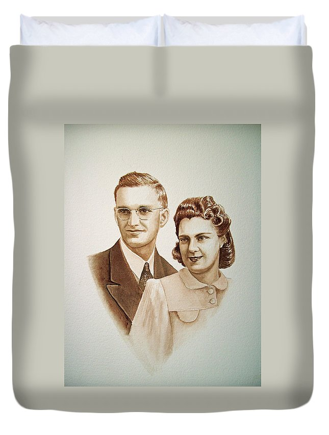 Anniversary Duvet Cover featuring the painting 70 Years Together by Irina Sztukowski