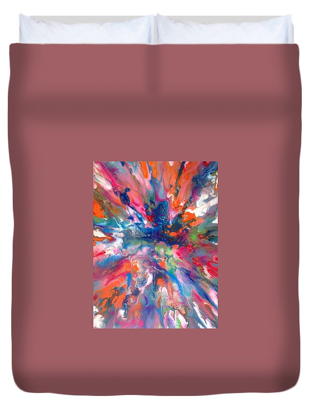 Bright Duvet Cover featuring the painting 70's by Anne Koslik