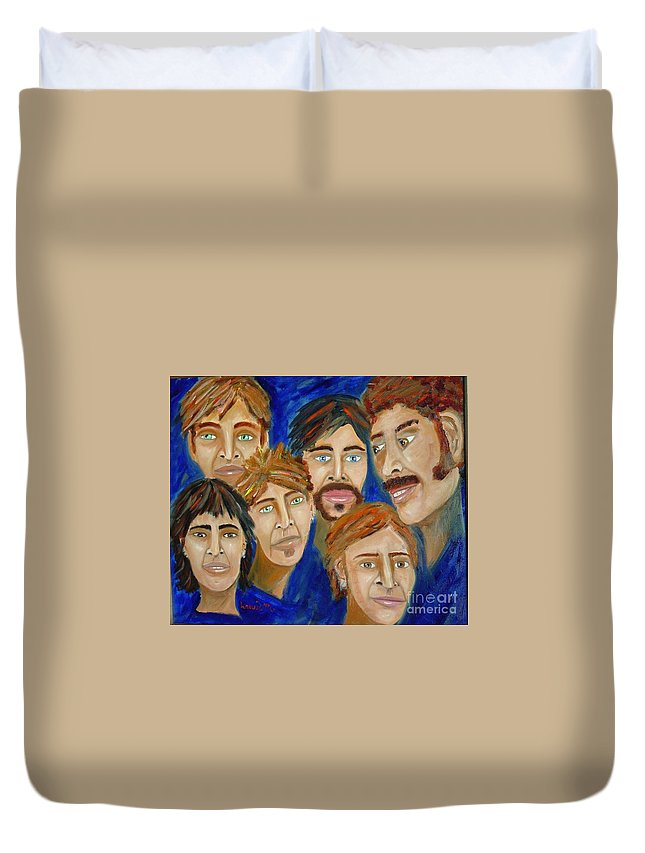 Portrait Duvet Cover featuring the painting 70s Band Reunion by Laurie Morgan