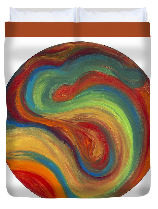 Acrylic Abstract Canvas Duvet Cover featuring the painting 70s Influence by Patty Vicknair