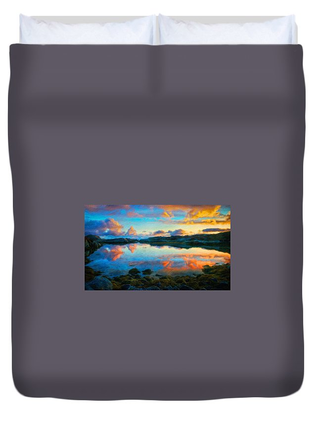 Landscape Duvet Cover featuring the painting Landscape Nature Art by World Map