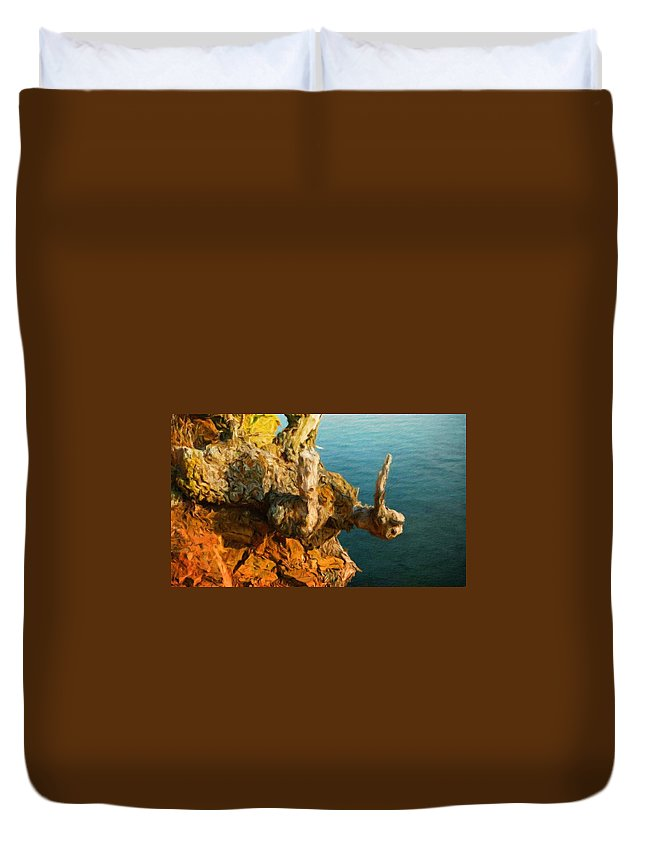 Landscape Duvet Cover featuring the painting Landscape Drawing Nature by World Map