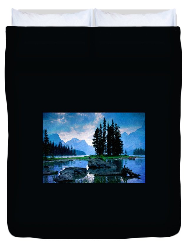Landscape Duvet Cover featuring the painting Nature Oil Paintings Landscapes by World Map