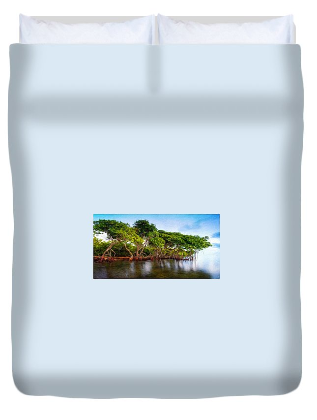 Landscape Duvet Cover featuring the painting Nature Original Landscape Painting by World Map