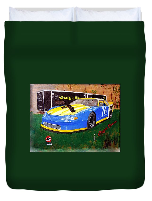 Nascar Duvet Cover featuring the painting 76 Roger Crane by Richard Le Page