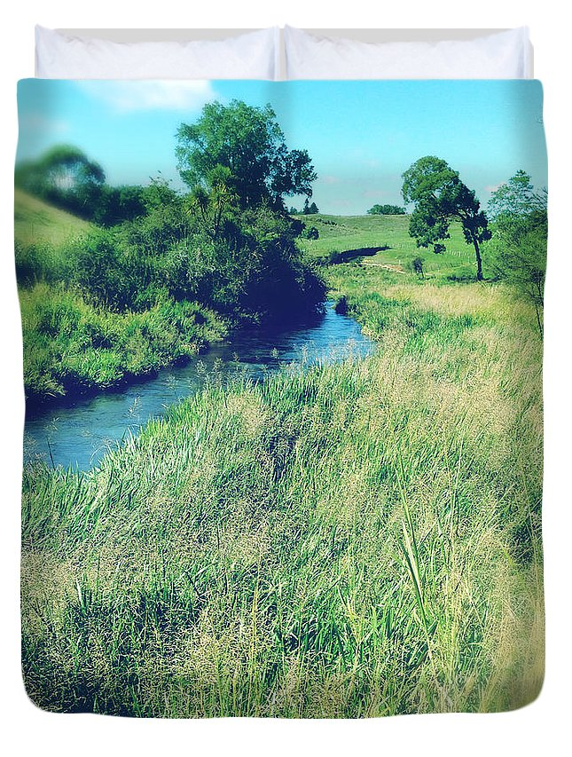 Brook Duvet Cover featuring the photograph Spring Water by Les Cunliffe