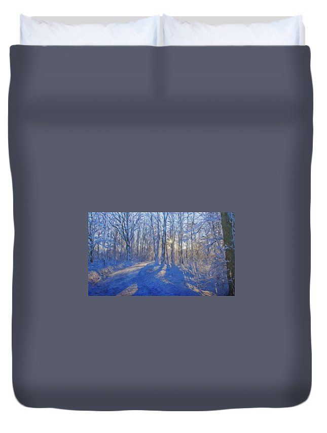 Landscape Duvet Cover featuring the painting A Landscape Nature by World Map