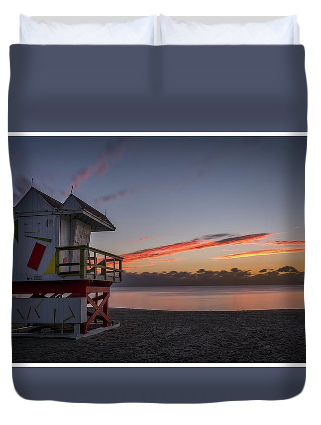 14x25 Duvet Cover featuring the photograph 7935- Miami Beach Sunrise 14x25 by David Lange