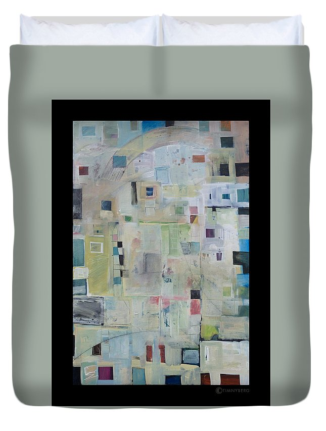 Abstract Duvet Cover featuring the painting 7am In The City That Doesn by Tim Nyberg