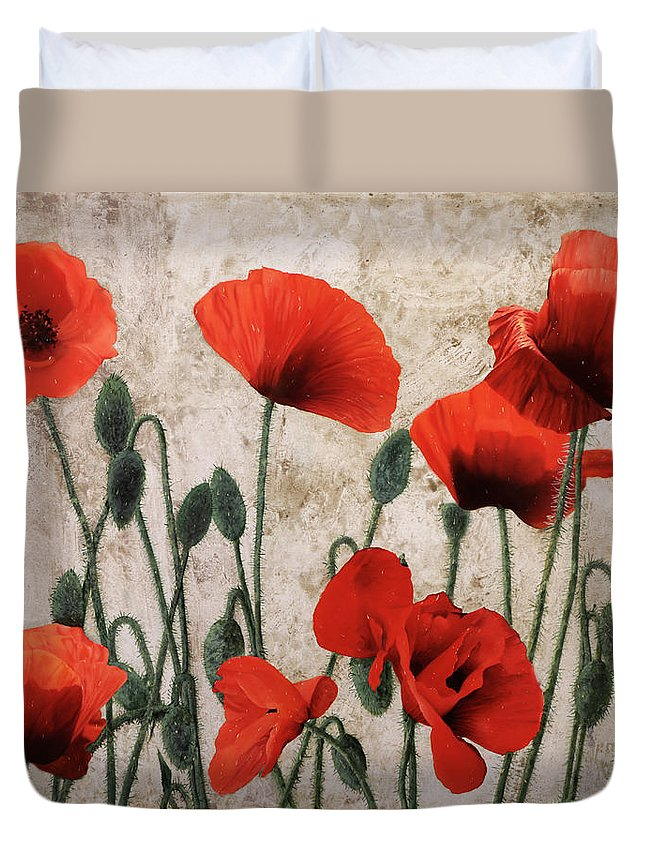 Poppies Duvet Cover featuring the painting 7papaveri7 by Guido Borelli