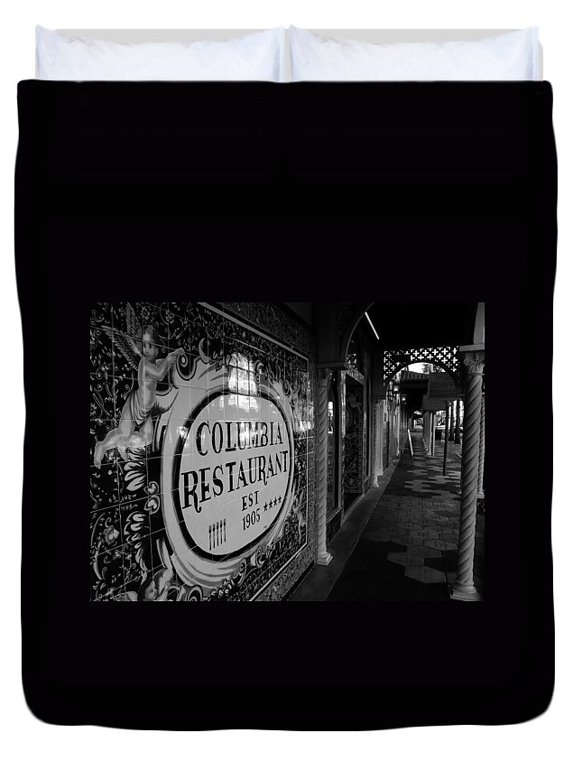 Columbia Restaurant Ybor City Florida Duvet Cover featuring the photograph 7th Ave Ybor City by David Lee Thompson