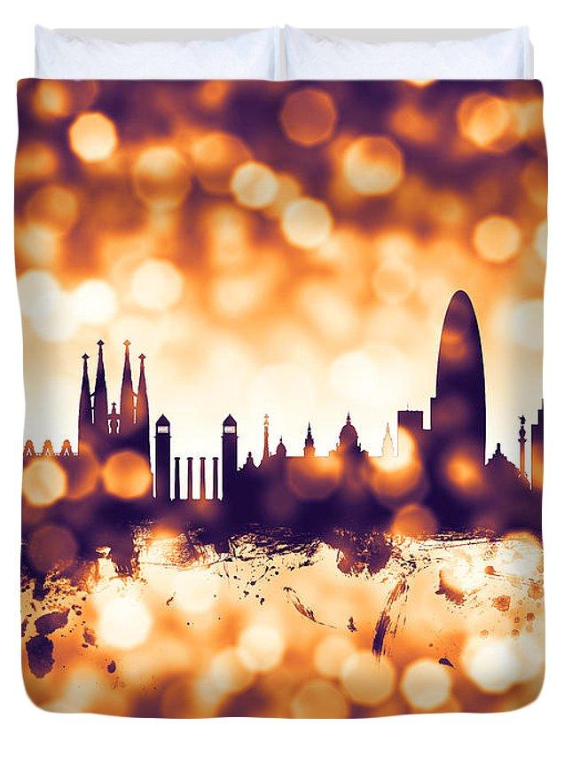 158eccc34 Barcelona Duvet Cover featuring the digital art Barcelona Spain Skyline by Michael  Tompsett