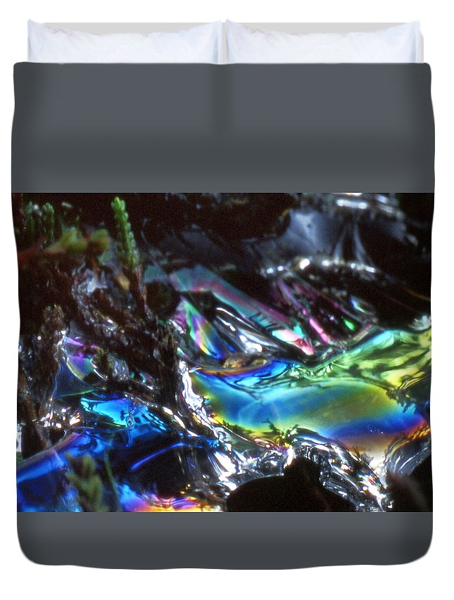 Duvet Cover featuring the photograph 8. Close-up Ice Prismatics, Slaley Sand Quarry by Iain Duncan