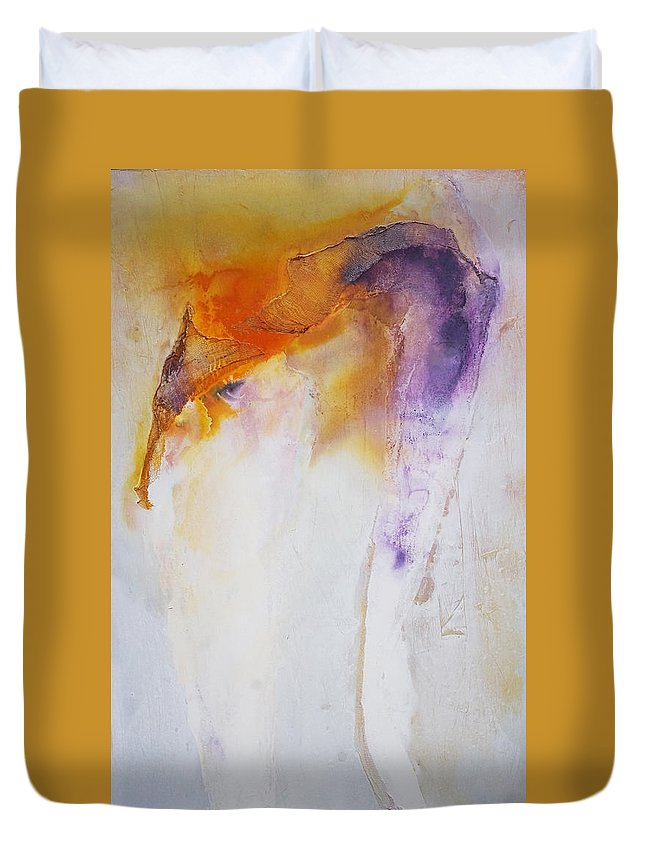 Abstract Duvet Cover featuring the painting Conceptional Views by Leah Hicks