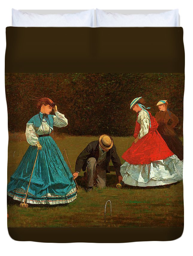 Croquet Scene Duvet Cover featuring the painting Croquet Scene by Winslow Homer