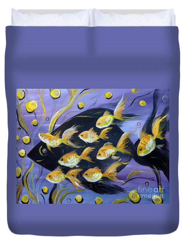 Fish Duvet Cover featuring the painting 8 Gold Fish by Gina De Gorna
