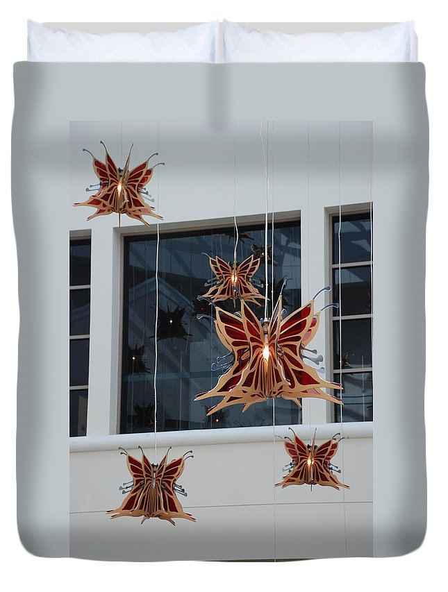Architecture Duvet Cover featuring the photograph Hanging Butterflies by Rob Hans