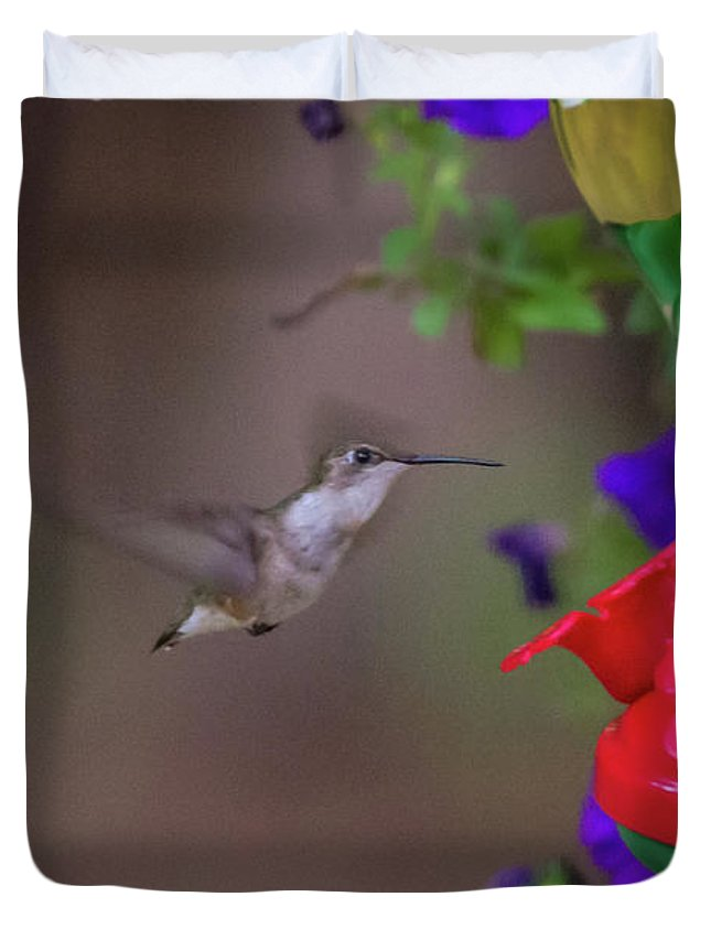 Flower Duvet Cover featuring the photograph Hummingbird Found In Wild Nature On Sunny Day by Alex Grichenko