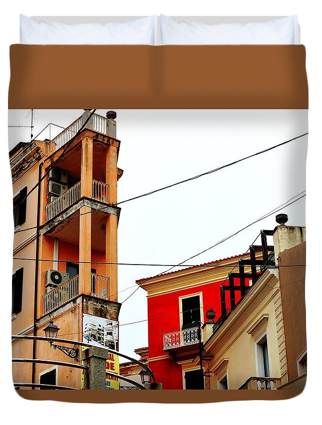 City Scene Duvet Cover featuring the photograph La Maddalena -sardinia by Gianni Bussu