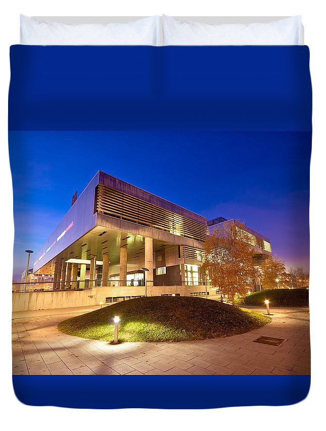 Contemporary Duvet Cover featuring the photograph Museum Of Contemporary Art In Zagreb Exterior by Brch Photography