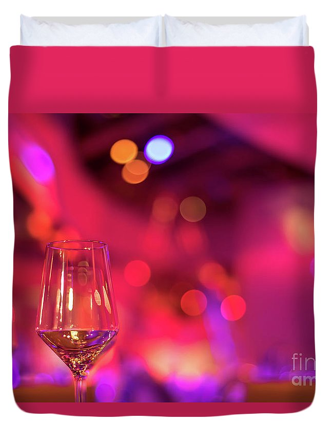 Abstract Duvet Cover featuring the photograph Party Setting With Colorful Bokeh Background by Eiko Tsuchiya