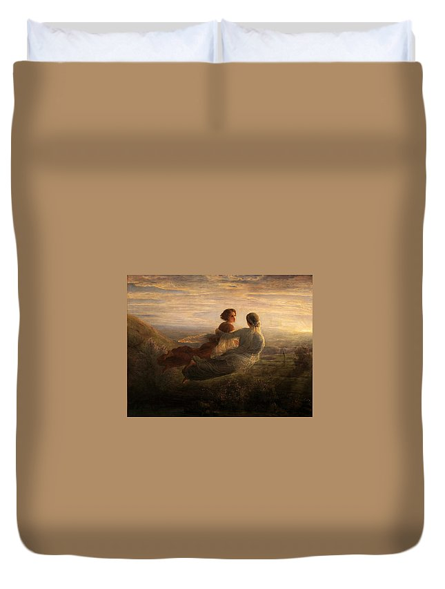 Louis Janmot - Poem Of The Soul 16 - The Soul's Flight Duvet Cover featuring the painting Poem Of The Soul by MotionAge Designs
