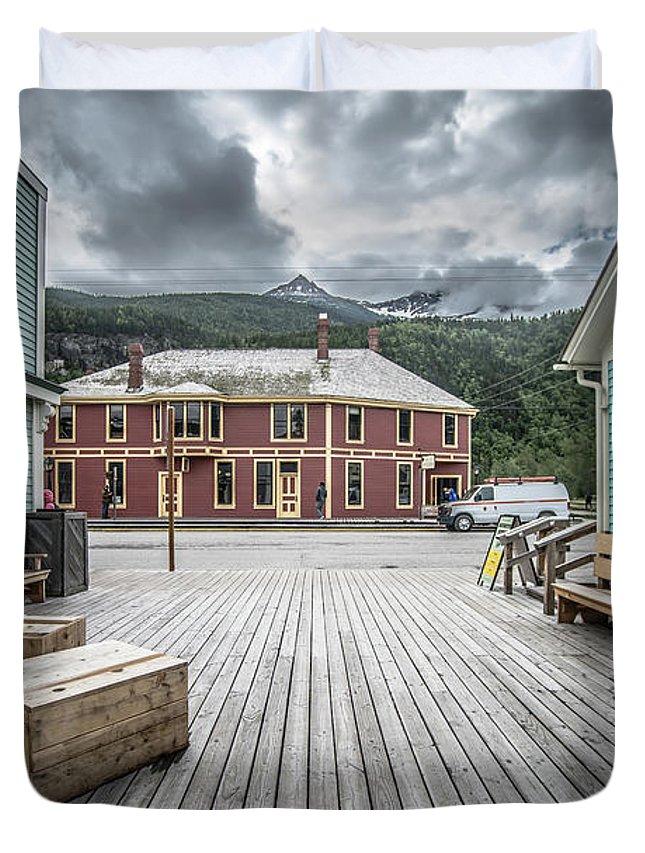 Skagway Duvet Cover featuring the photograph Port Of Skagway Alaska Near White Pass British Columbia Canada by Alex Grichenko