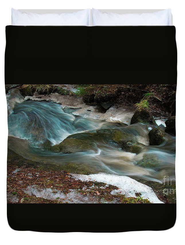 Forest Creek Duvet Cover featuring the photograph Rapids by Esko Lindell
