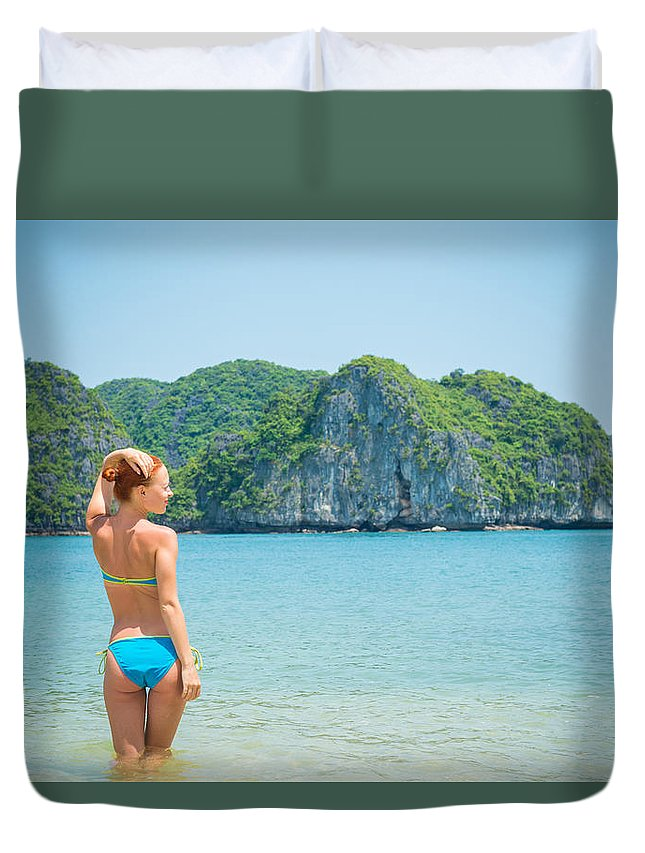 Back Duvet Cover featuring the photograph Sexy Woman Relax by Nikita Buida