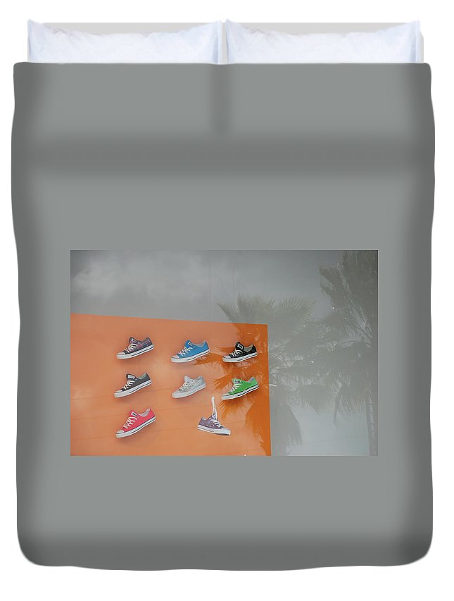 Orange Duvet Cover featuring the photograph 8 Sneakers by Rob Hans