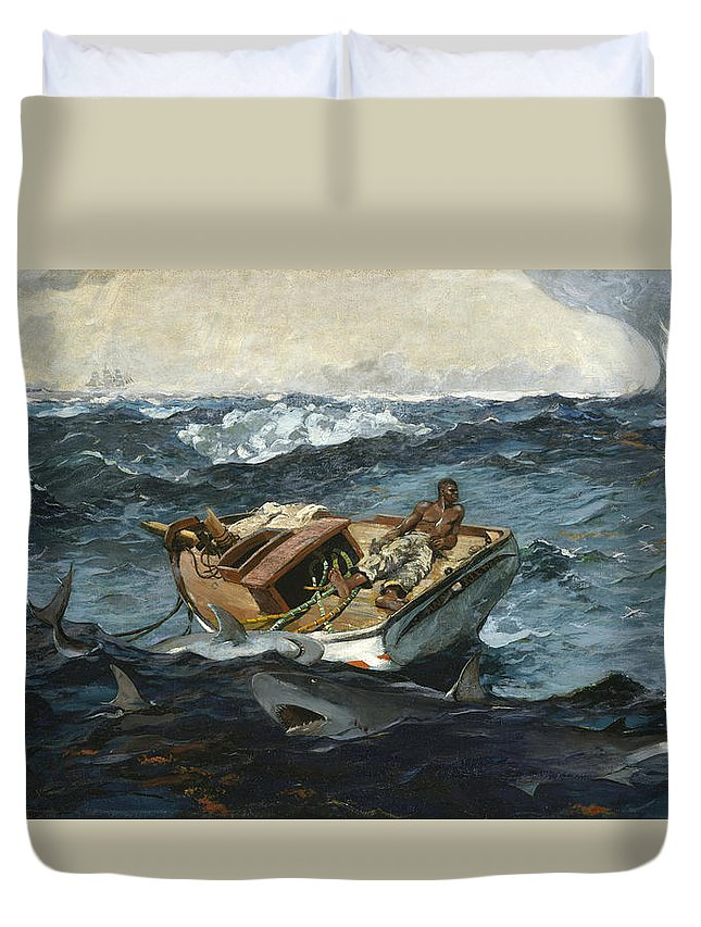 Winslow Homer Duvet Cover featuring the painting The Gulf Stream by Winslow Homer