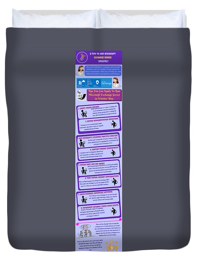 Improve Exchange Server Database Duvet Cover featuring the digital art 8 Tips To Run Microsoft Exchange Server Smoothly by Lorein Watson