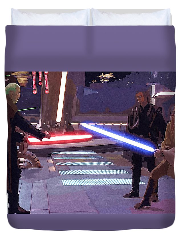 Star Wars Fighter Duvet Cover featuring the digital art Trilogy Star Wars Art by Larry Jones