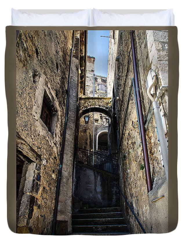 Street Duvet Cover featuring the photograph Walking Through The Streets Of Pretoro - Italy by Andrea Mazzocchetti