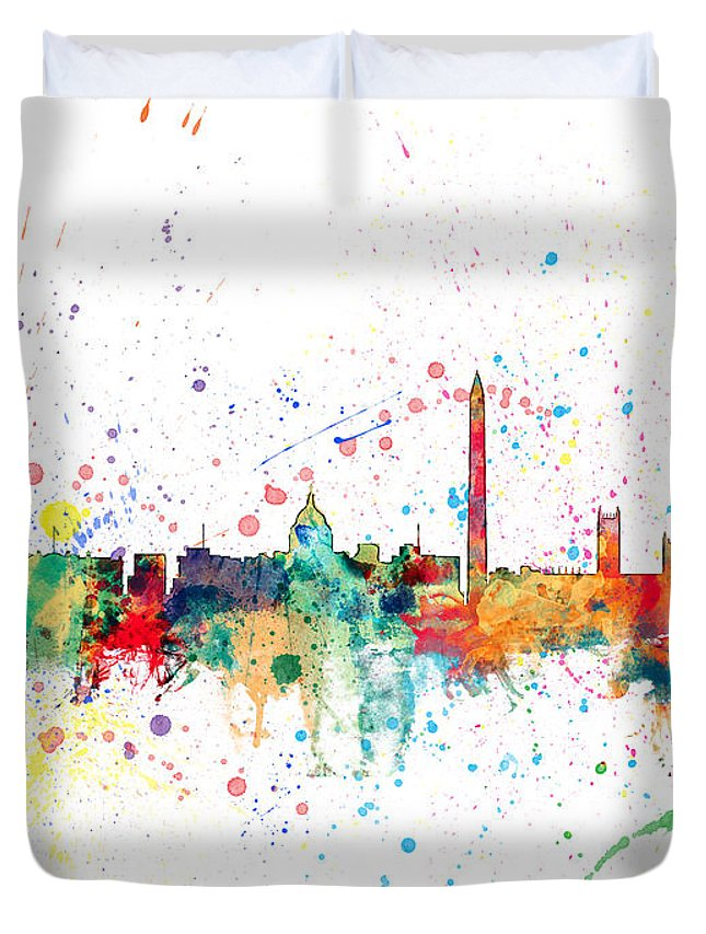 United States Duvet Cover featuring the digital art Washington Dc Skyline by Michael Tompsett