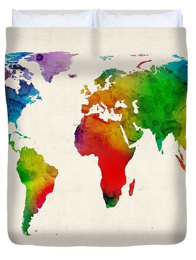 Watercolor Map Of The World Map Duvet Cover for Sale by Michael Tompsett