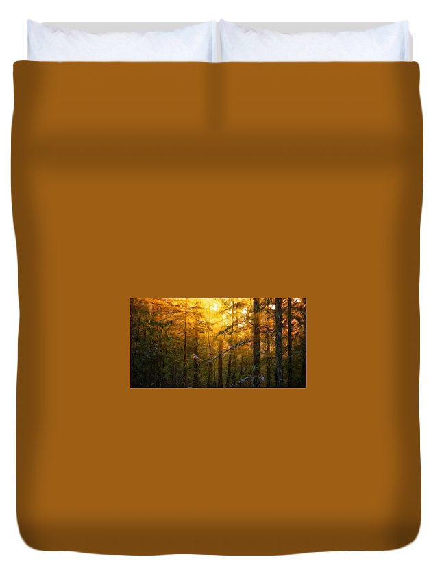 Landscape Duvet Cover featuring the painting Nature Oil Painting Landscape by World Map