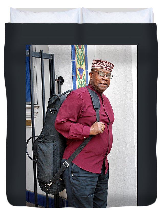 Jazz Duvet Cover featuring the photograph Jazz Musician. by Oscar Williams
