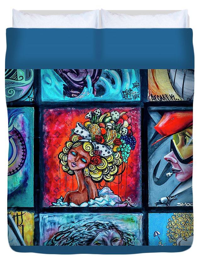 Florida Duvet Cover featuring the photograph 8334-2- Little Havana Mural by David Lange