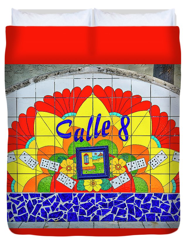 Calle 8 Duvet Cover featuring the photograph 8406- Litle Havana Mosaic by David Lange