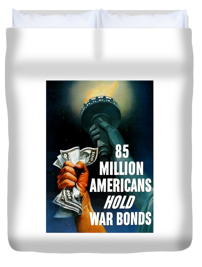 Statue Of Liberty Duvet Cover featuring the painting 85 Million Americans Hold War Bonds by War Is Hell Store