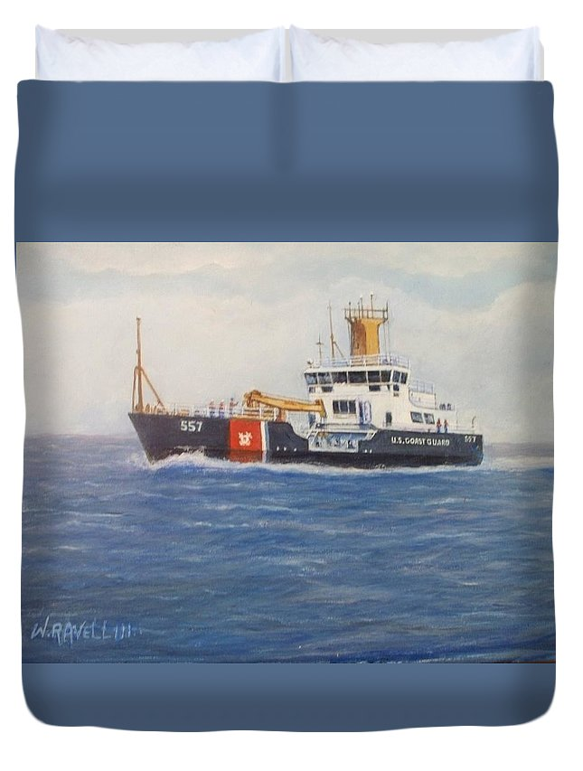 Marine Art Duvet Cover featuring the painting 860-859-3313 by William Ravell
