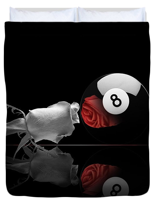 Pool Duvet Cover featuring the digital art 8BW by Draw Shots