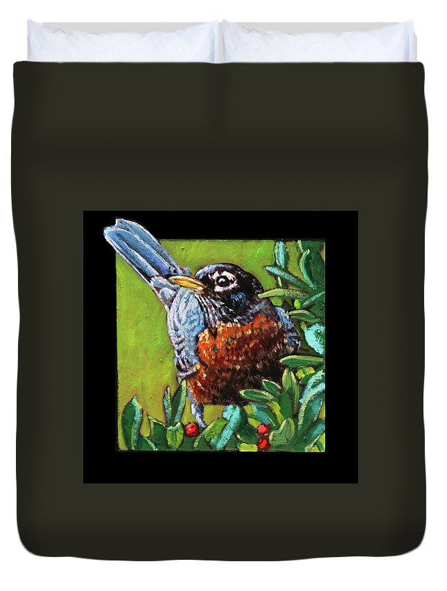 Robin Duvet Cover featuring the painting Birdman Of Alcatraz Detail by John Lautermilch