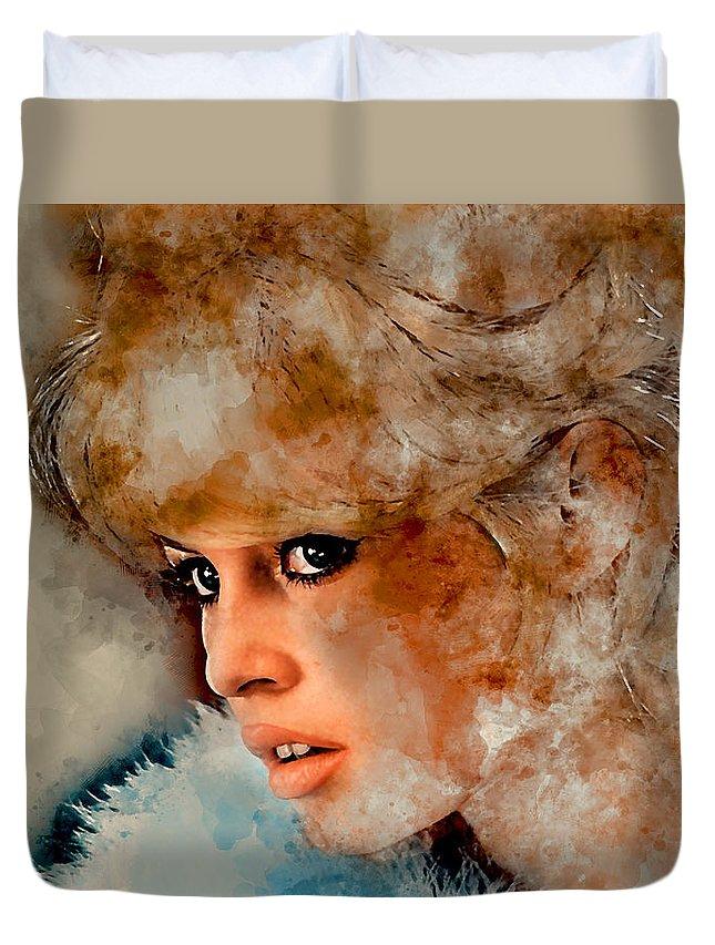 Brigitte Bardot Duvet Cover featuring the mixed media Brigitte Bardot by Marvin Blaine