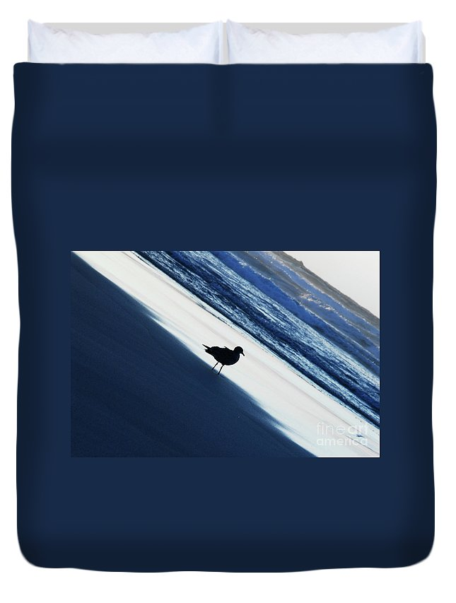 Bird On A Beach By Jenny Potter Duvet Cover featuring the photograph Bird On A Beach by Jenny Potter