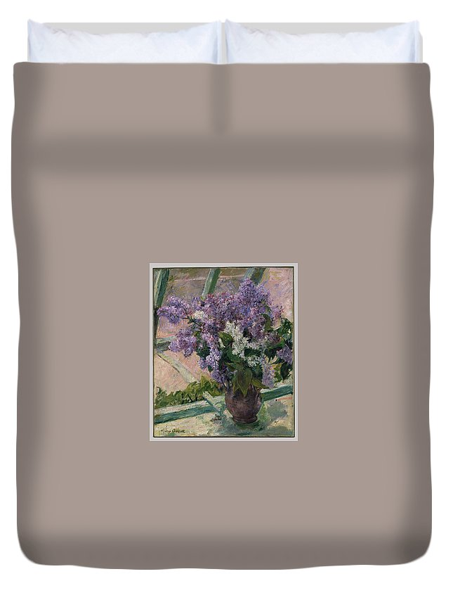 Lilacs In A Window (vase De Lilas A La Fenetre) Duvet Cover featuring the painting Lilacs In A Window by Mary Cassatt