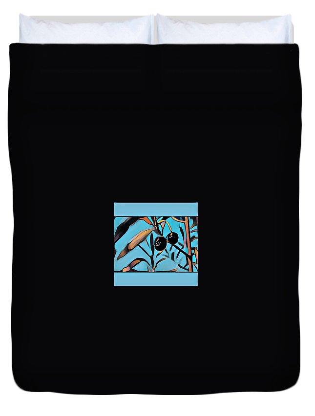 Duvet Cover featuring the digital art Olives by Melinda Sullivan Image and Design