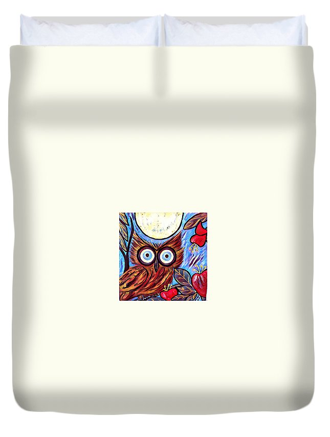 Duvet Cover featuring the digital art Owl Midnight by Melinda Sullivan Image and Design