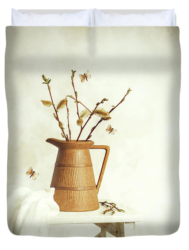 Pretty Duvet Cover featuring the photograph Spring Still Life by Amanda Elwell